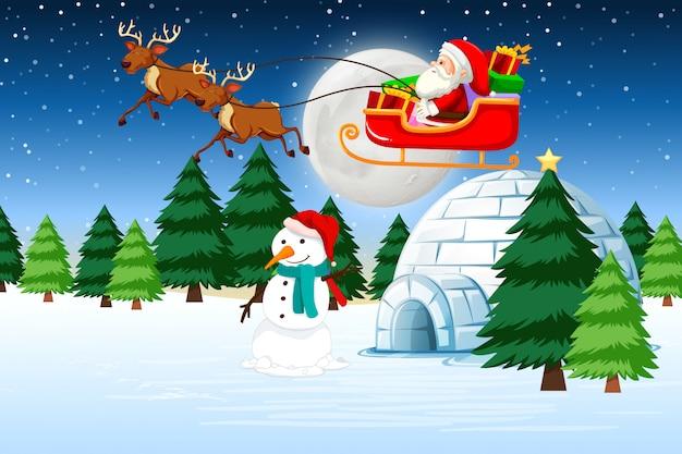 A santa riding sleigh Free Vector