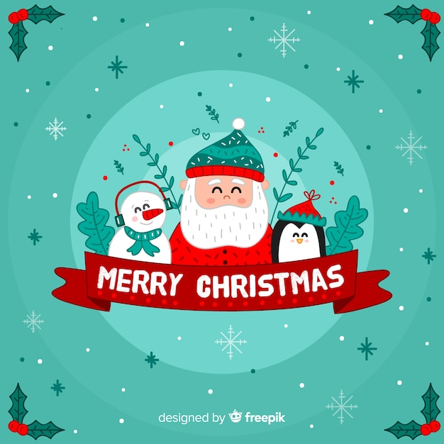 Santa's friends christmas background Free Vector