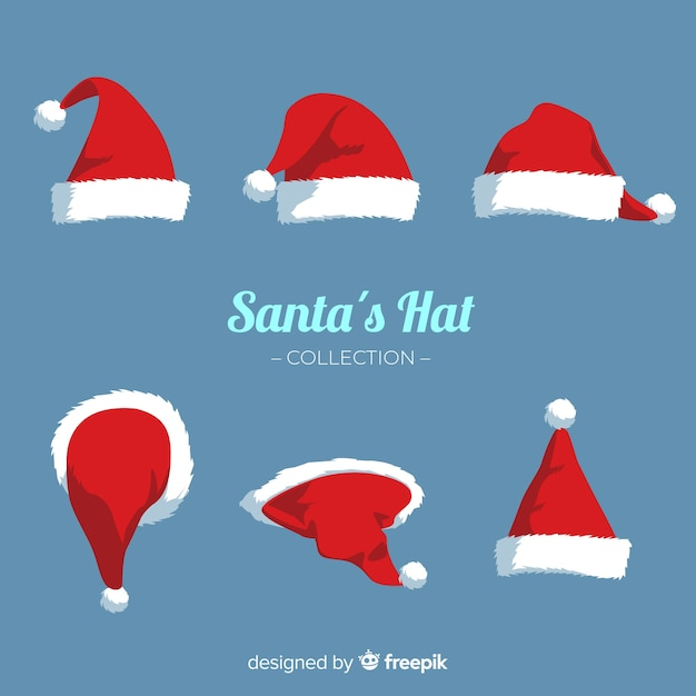 Santa's hat christmas collection in flat design Free Vector