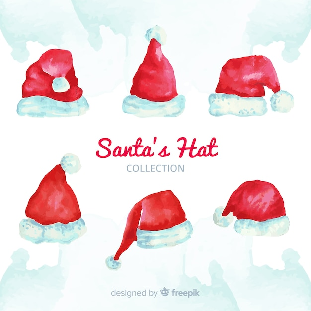 Santa's hat christmas collection in watercolor Free Vector