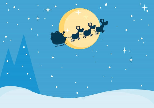 Santa's sleigh in christmas night Premium Vector