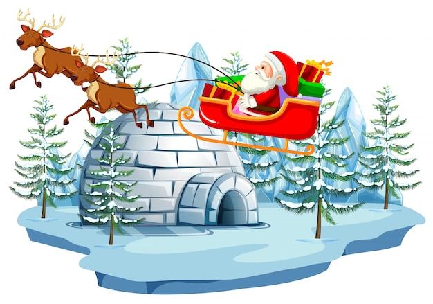 Santa and sleigh with igloo Premium Vector