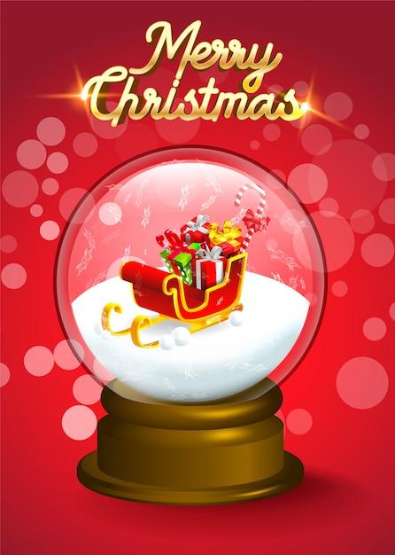 クリスマスの雪の世界の結晶の中のプレゼントの山とサンタのそり Premiumベクター