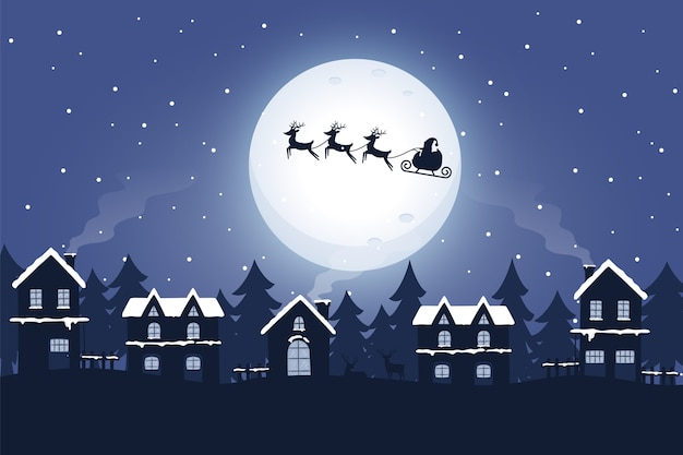 Santa and sleigh with reindeer in the night Free Vector