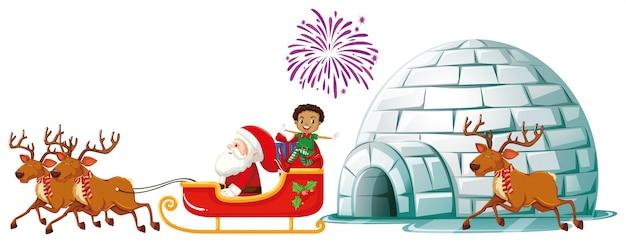 Santa on sleigh with reindeers Free Vector