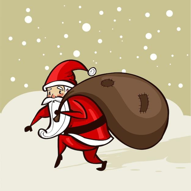 Santa sneaking in the snow Premium Vector