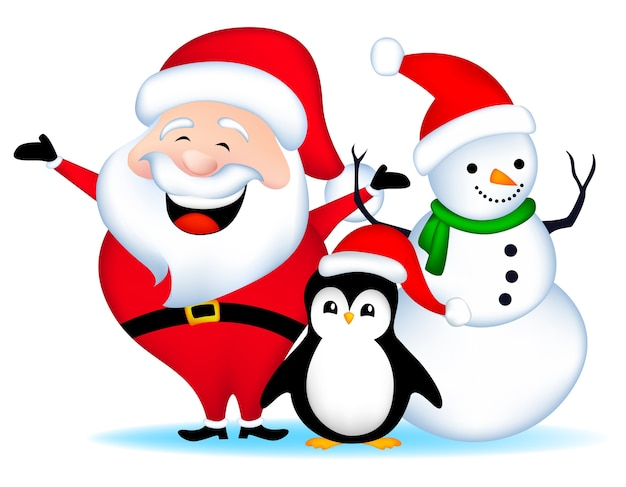 santa snowman and penguin premium vector - Santa Snowman