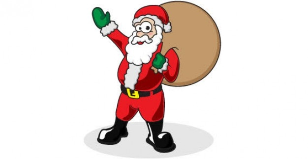 santa waving and carrying a bag on his shoulder Free Vector