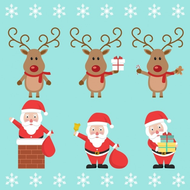Santa with a reindeer Free Vector