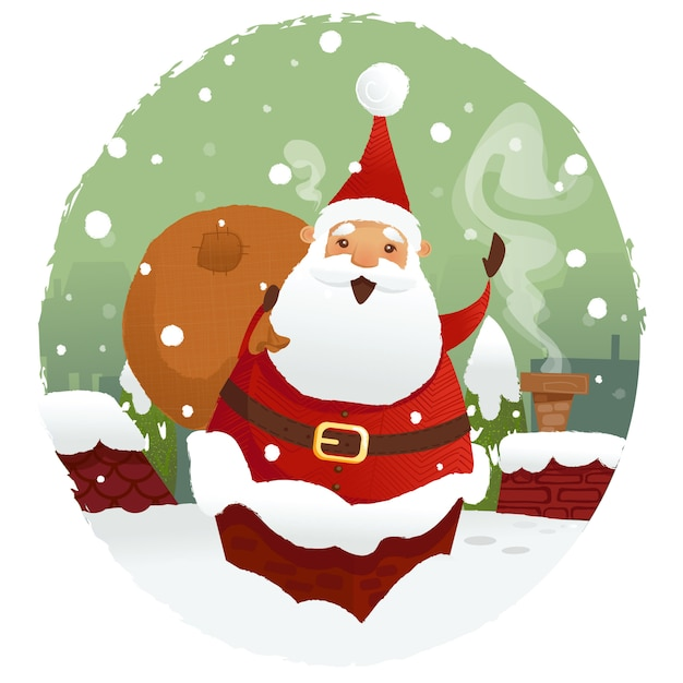 Santa with gifts Premium Vector