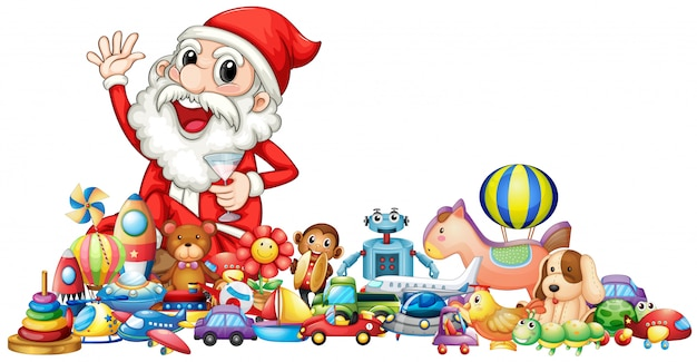 Santa with lots of toys Free Vector