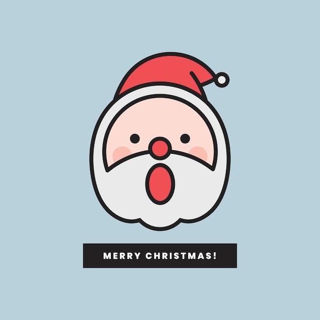 Santa con emoticon a bocca aperta e messaggio di buon natale isolato Vettore gratuito