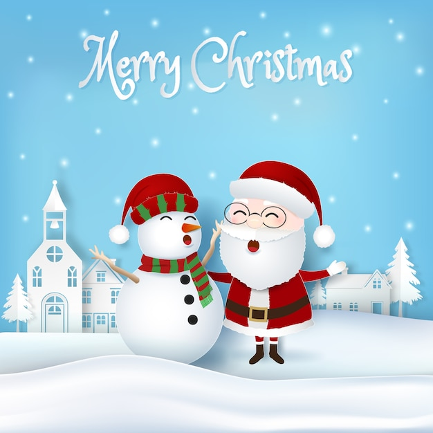 Santa with snowman and city christmas background Premium Vector