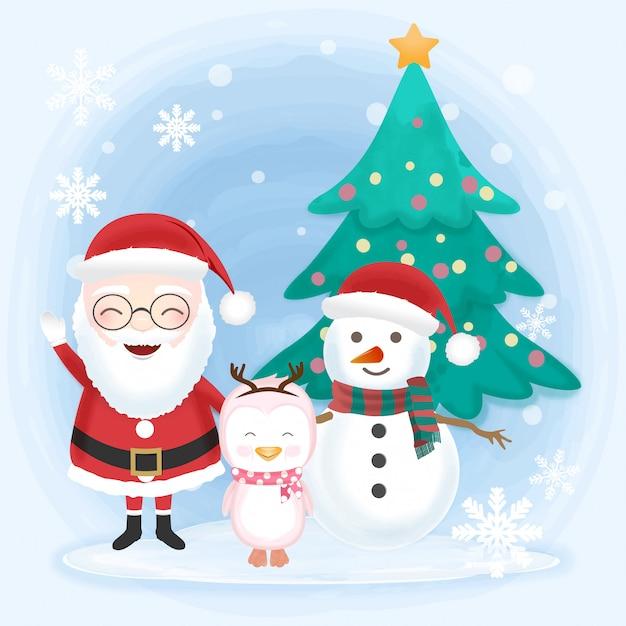 Santa with snowman and penguin Premium Vector