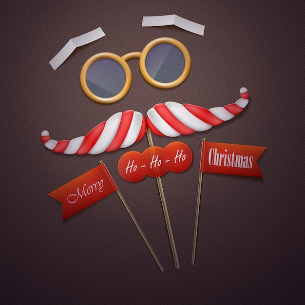 Santas mustache and glasses vector illustration. Premium Vector