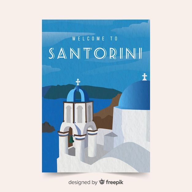 Santorini promotional poster template Free Vector