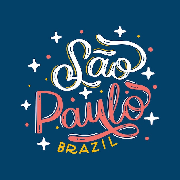 Sao paulo lettering brazil with stars Free Vector