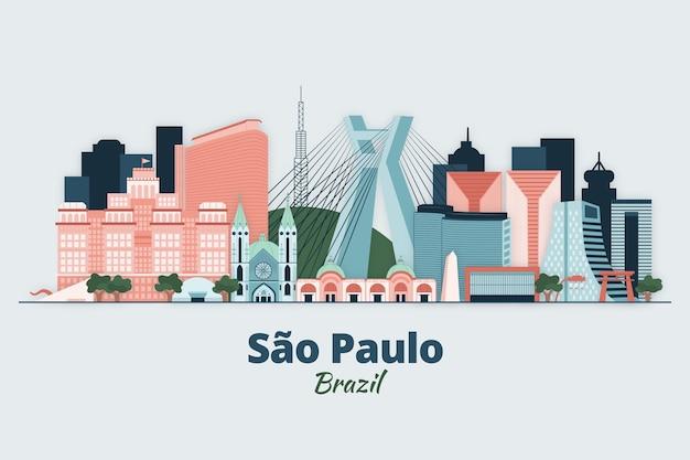 Иллюстрация горизонта сан-паулу Бесплатные векторы