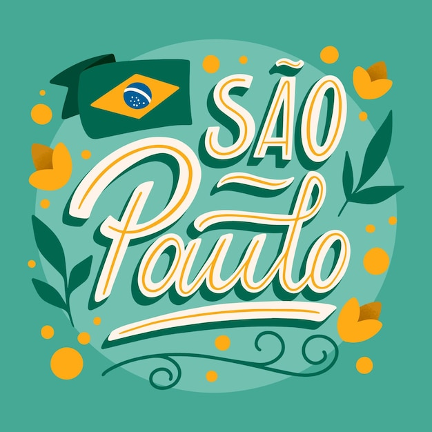 Sao paulo with flag and flowers lettering Free Vector