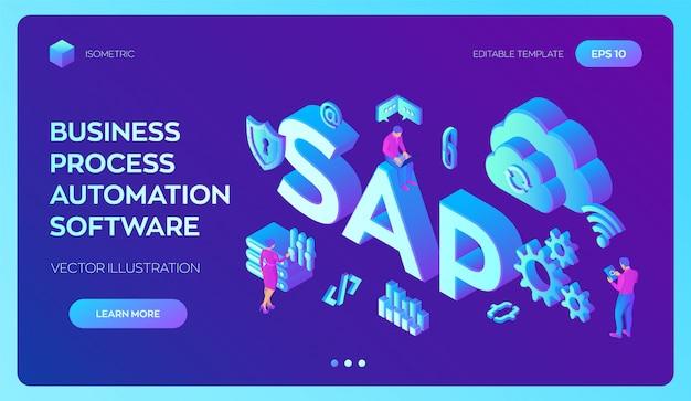 Sap business process automationソフトウェア。 erpエンタープライズリソースプランニングシステム。 Premiumベクター