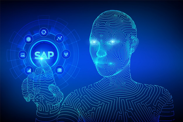 Sap business process automation software concept on virtual screen. wireframed cyborg hand touching digital interface. Premium Vector