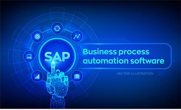 Программное обеспечение для автоматизации бизнес-процессов sap. роботизированная рука трогательно цифровой интерфейс. Premium векторы