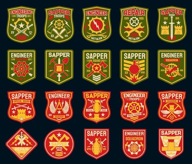 工兵または工兵の軍事パッチと軍のバッジ。 Premiumベクター