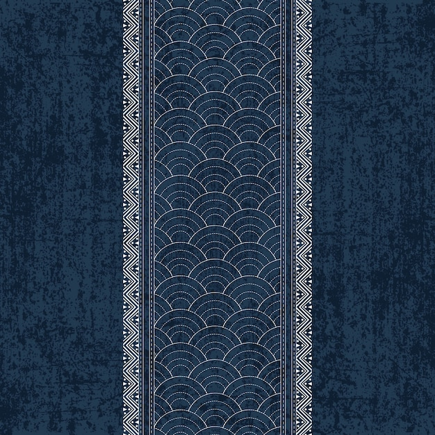 Sashiko indigo dye pattern with traditional white Japanese embroidery Premium Vector