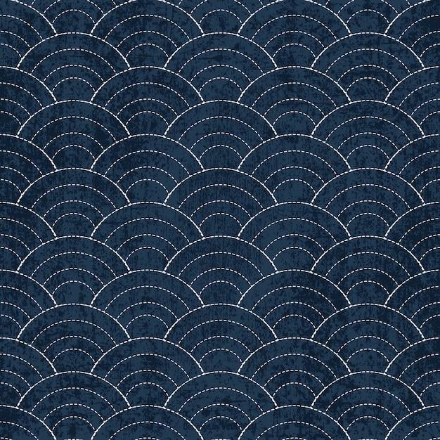 Sashiko seamless indigo dye pattern with traditional white Japanese embroidery Premium Vector