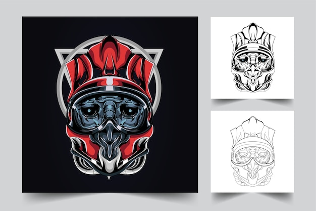Satan helm mascot logo design with modern illustration concept style for budge, emblem Premium Vector