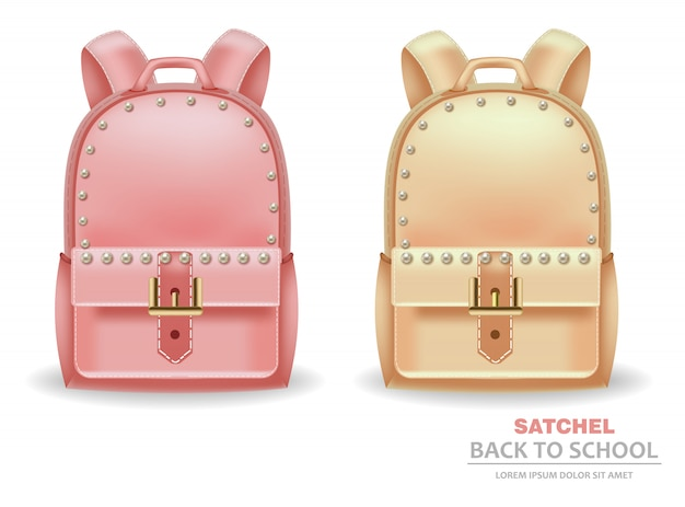 Satchel bags with pearls Premium Vector