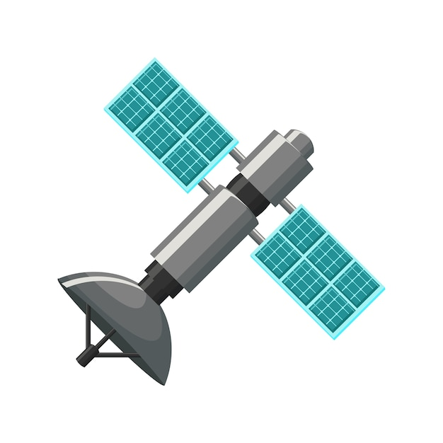 Satellite icon in grey and blue Premium Vector