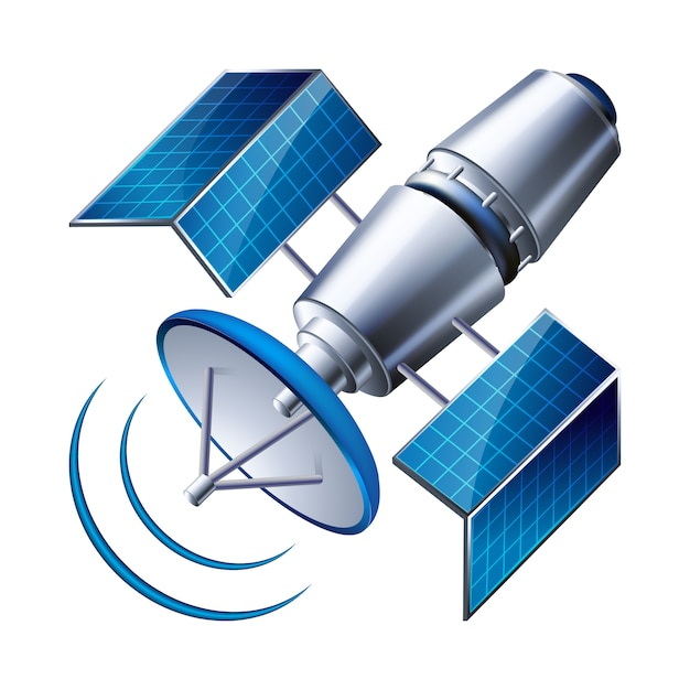 Satellite isolated on white background Premium Vector
