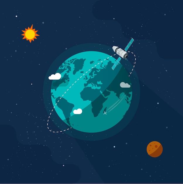 太陽系宇宙の宇宙空間で地球惑星の周りを飛んでいる衛星宇宙船 Premiumベクター