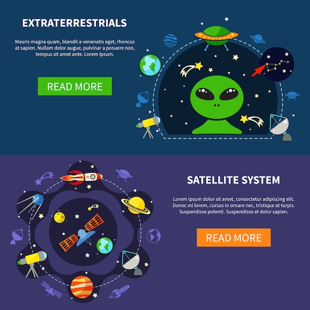 Satellite system banners set Free Vector