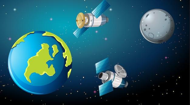 地球の周りの衛星 無料ベクター
