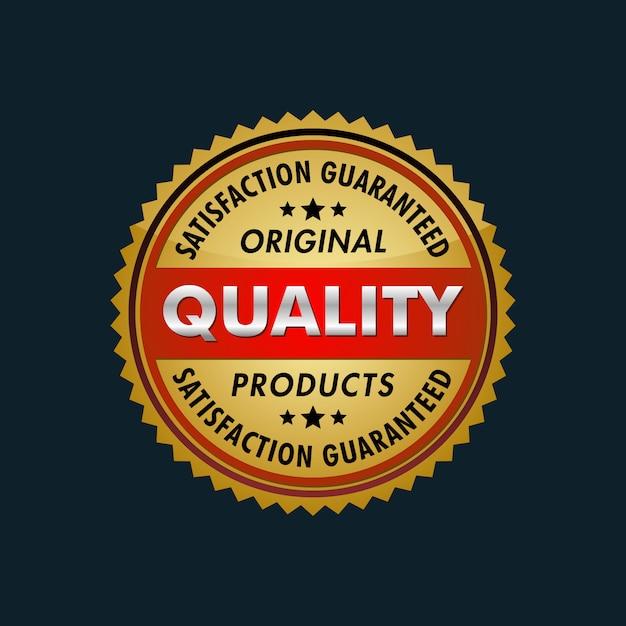 Satisfaction guaranteed original products logo Premium Vector