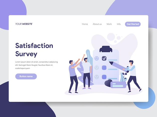 Satisfaction survey illustration for web page Premium Vector