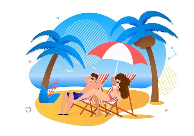 Satisfied cartoon married couple resting on tropical beach Premium Vector