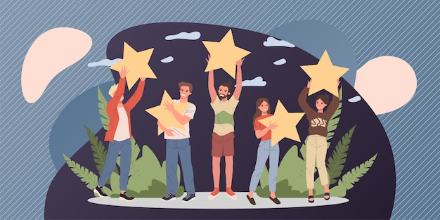 Satisfied customers rating services quality with review stars Premium Vector