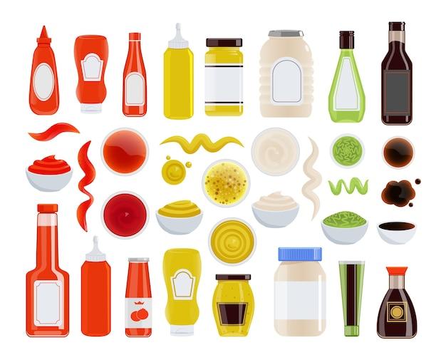 ソースアイコン。ケチャップ、マヨネーズ、マスタード、醤油、ガラスまたはペットボトル、チューブ、ボウル。調味料の波状のトレースと汚れのアイコンが白の背景に設定。食材イラスト Premiumベクター