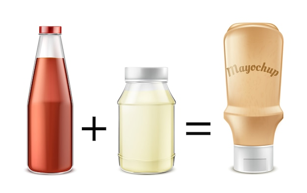 Sauce recipe concept illustration. tomato ketchup mixed with mayonnaise to get mayochup Free Vector