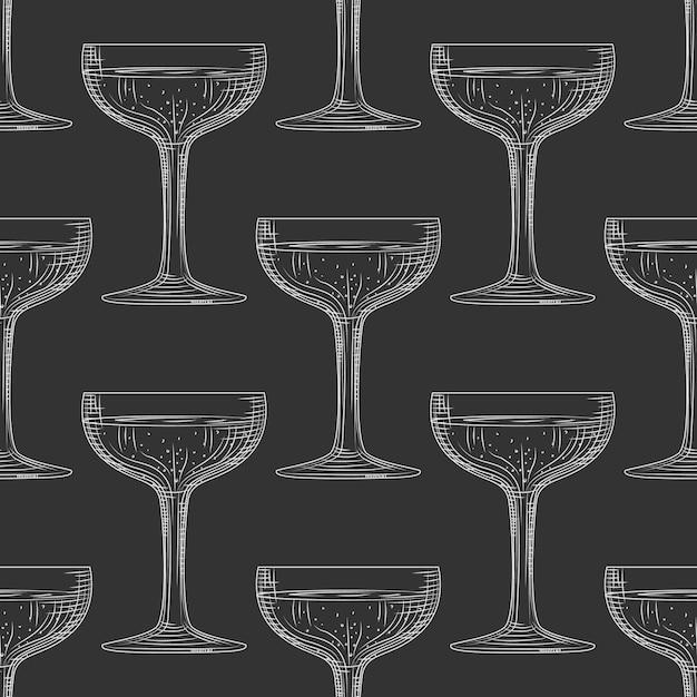 Saucer glass seamless pattern Premium Vector