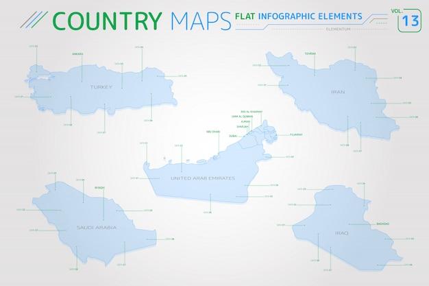 サウジアラビア、イラク、イラン、アラブ首長国連邦、トルコベクターマップ Premiumベクター