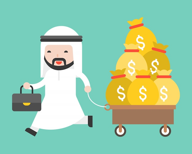 Saudi man pulling cart full money bag Premium Vector