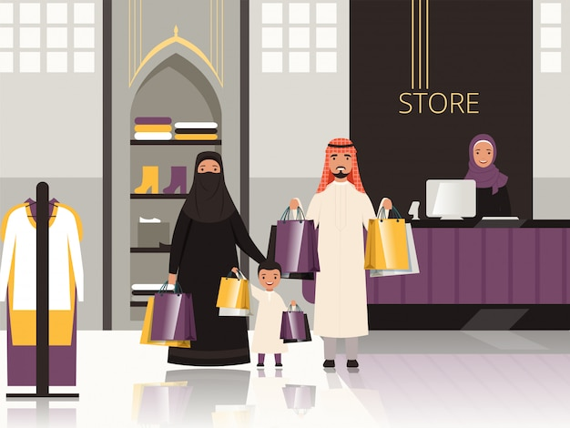 Saudi in market. arabic family checkout in grocery store shop or supermarket pay money for foods cartoon Premium Vector