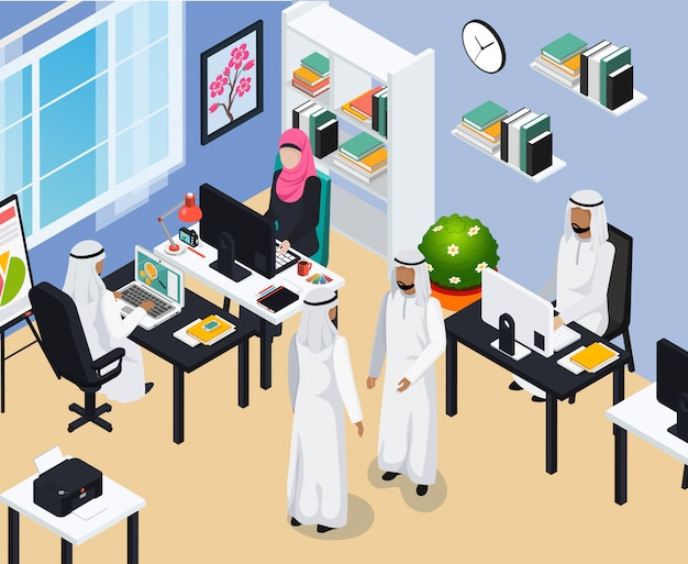 Saudi people in office composition Free Vector