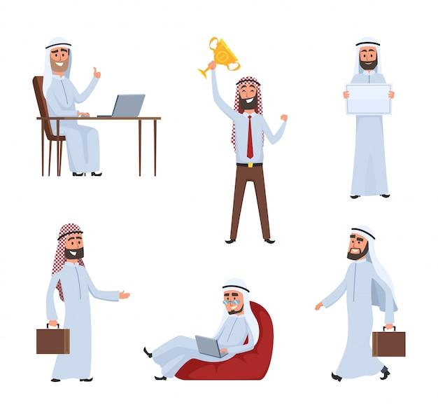 Saudi peoples at work. arabic cartoon characters Premium Vector