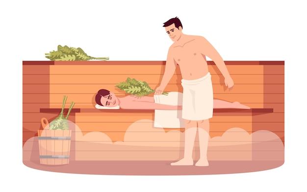 사우나 라운지 세미 Rgb 컬러 일러스트. 소녀는 나무 난로 선반에 긴장. 목욕 빗자루 마사지 여자 친구와 남자 친구. 흰색 바탕에 남자와 여자 만화 캐릭터 프리미엄 벡터