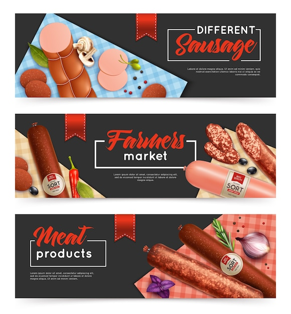 Sausage banners set Free Vector